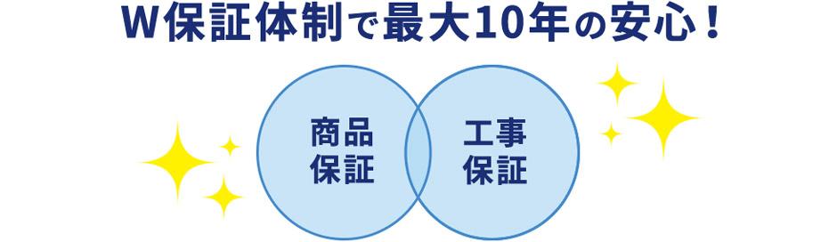 商品保証・工事保証/W保証体制で最大10年の安心!